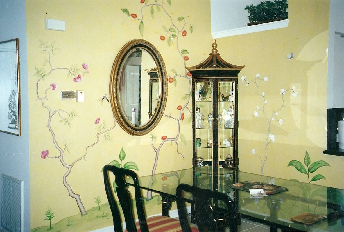 wall painting in an asian dining room style furniture