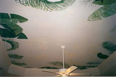 Ceiling art mural with huge palms